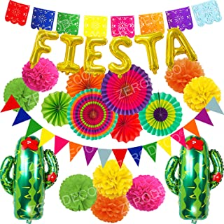 ZERODECO Fiesta Party Decoration, Multicolor Festival Mexicano Picado Banner Foil Fiesta and Cactus Balloons Paper Fan Pompoms Triangle Bunting Banner for Fiesta Mexican Cinco De Mayo Party