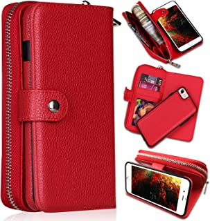 iPhone 8 Case,iPhone 7 Wallet Cases, [Large Capacity][Magnetic Detachable] CASEOWL 2 in 1 Zipper Pocket Leather Wallet Case with Wrist Strap, Kickstand, Cards Holder for iPhone 7/iPhone 8-Red