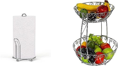 high quality Simple wholesale Houseware Chrome Paper Towel Holder + 2-Tier Countertop lowest Fruit Basket Bowl Storage, Chrome online