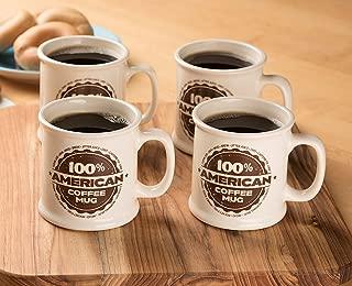 American Mug Pottery Ceramic Coffee Mug, Made in USA, Ivory, 16 oz - Pack of 4