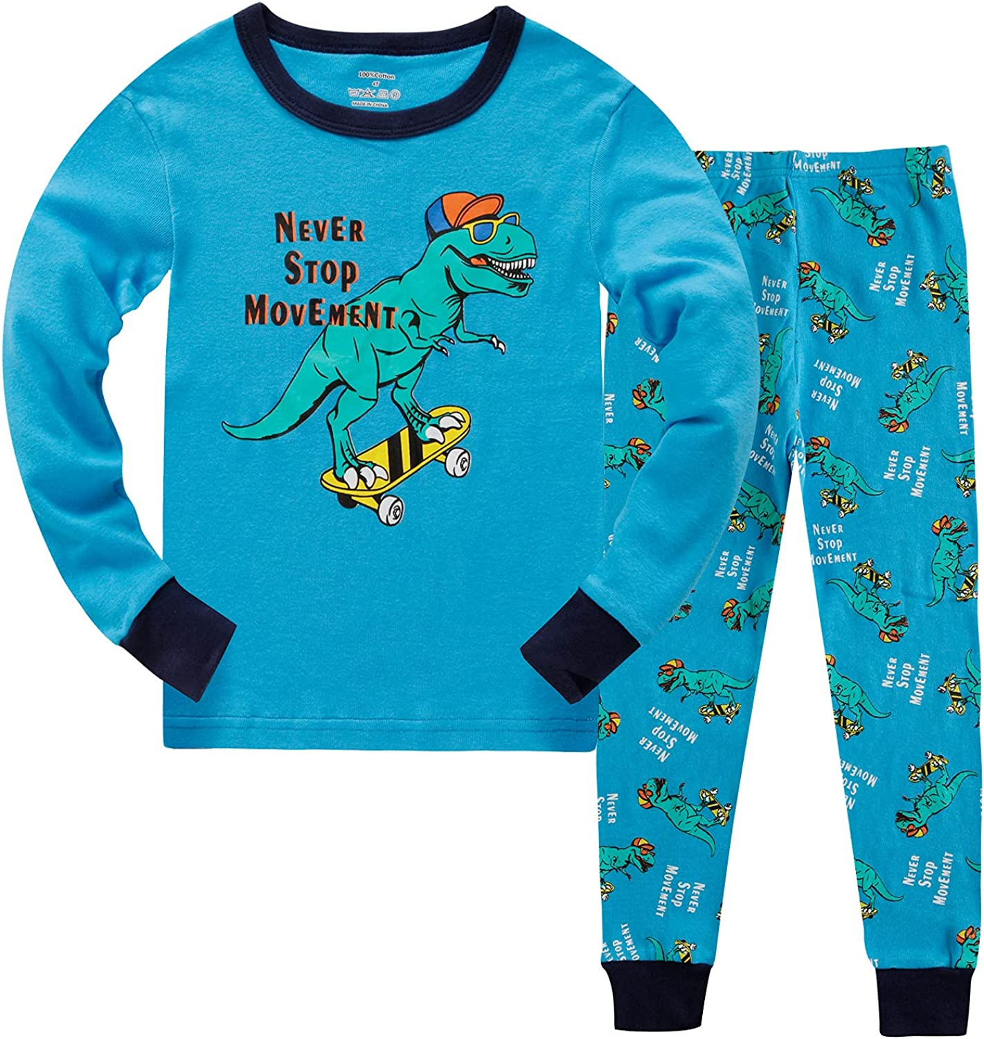Toddler Boy Clothes Outfits Dinosaur Graphic Long Sleeve Shirts and Pants Set 2 Pieces Blue 3-7T
