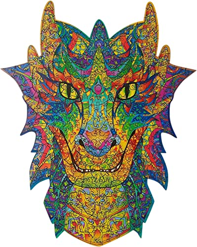 lowest Wooden Puzzles discount for Adults - Unique Shape Animals Jigsaw Pieces - Charming Dragon - 5MM Puzzle Pieces, 9.5 ×7.5In, 130 Pieces, Challenging Floor Puzzle DIY Collectibles, New Year Gift for Kids & wholesale Adults online