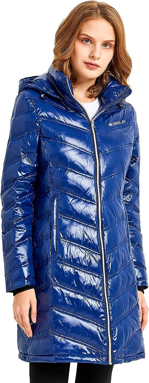Orolay Damen Daunenmantel Steppjacke Lang Winter Kapuzenmantel Blau