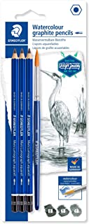 Staedtler Mars Lumograph Graphite Watercolor Pencils Kit, Set of 3, Includes Watercolor Brush, 100A-SBK4