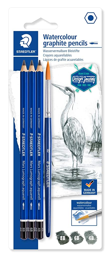 Mars Lumograph Aquarell 100A Design Journey - Blister Pack of 3 Assorted Watercolour Graphite Pencils (8B/6B/4B) + 1 Brush #8