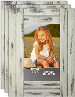 Icona Bay 4x6 Picture Frames, Rustic Picture Frame Set, Natural Real Wood Frames, Set of 3 Cottage Collection (3 Pack, Country Cream)