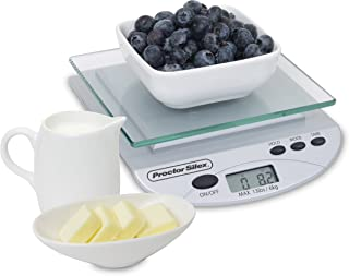 Proctor Silex Digital Kitchen Food Scale, Grams and Ounces, (86500), Weight Range from 2G-13LBS, Silver