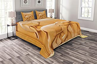 Lunarable Retro Bedspread, Carved Wooden Mother Child Baby Elephants Animals Design, Decorative Quilted 3 Piece Coverlet Set with 2 Pillow Shams, King Size, Mustard Apricot