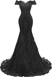 Women's V Neckline Evening Gowns Mermaid Lace Prom Dresses Long H074