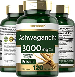 Ashwagandha Capsules | 3000 mg | 120 Count | Maximum Strength | 2 Month Supply | Non-GMO & Gluten Free | by Horbaach