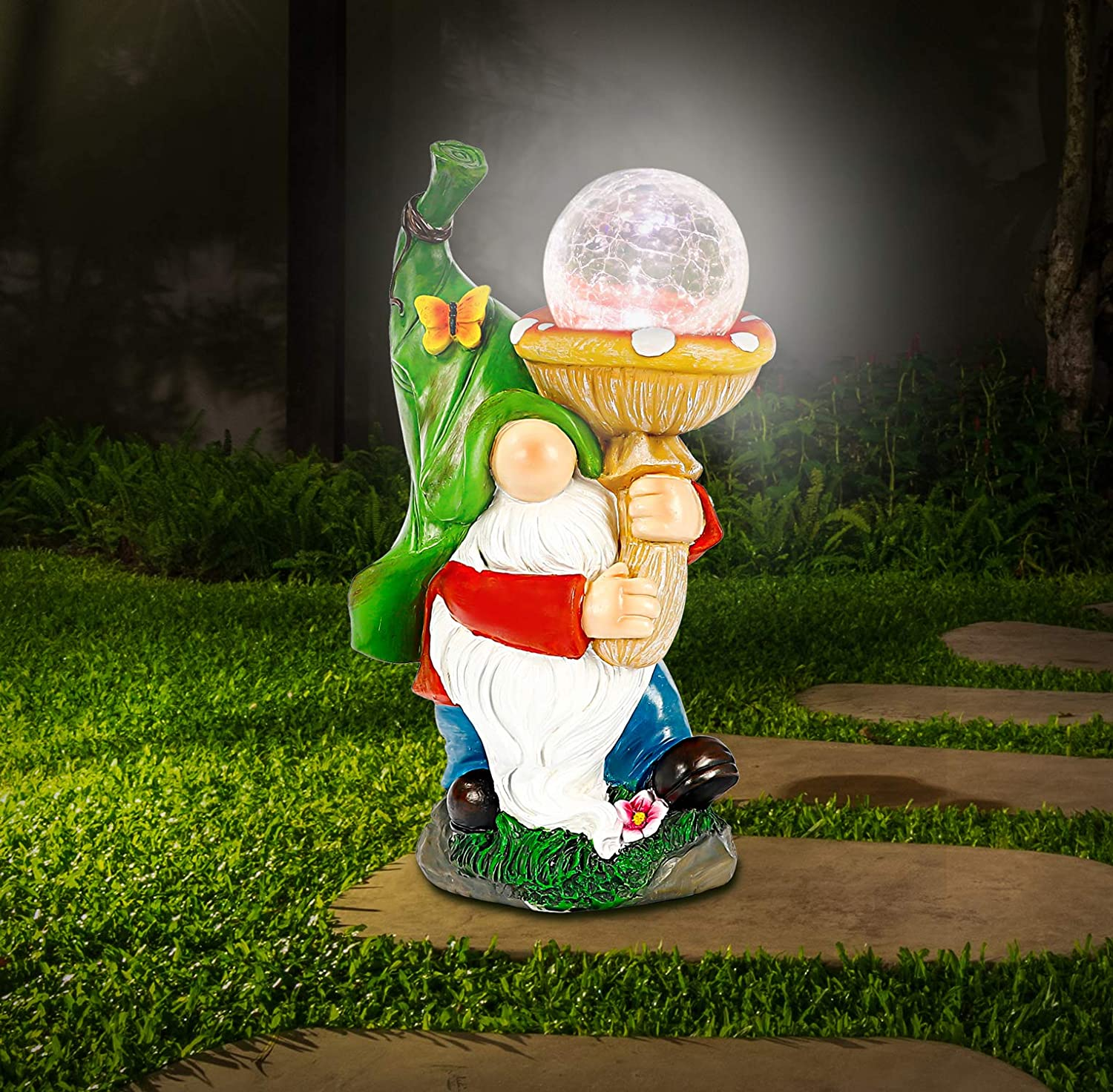WOGOON Garden Gnome Statue Outdoor Decor, Resin Gnome Figurine Holding Bright Solar-Powered Light Up Glass Orb, Outside Decorations Spring Autumn Art Sculpture Ornaments for Patio Yard Lawn Pond