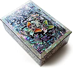 MADDesign Jewelry Trinket Box Mother of Pearl Inlay Lacquered Butterflies Black #38