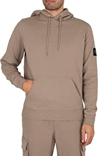 Calvin Klein Jeans Men's Monogram Sleeve Badge Pullover Hoodie, Grey, XL