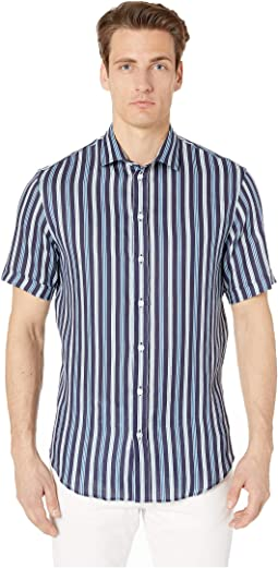 Bold Alternating Stripe Short Sleeve Sport Shirt