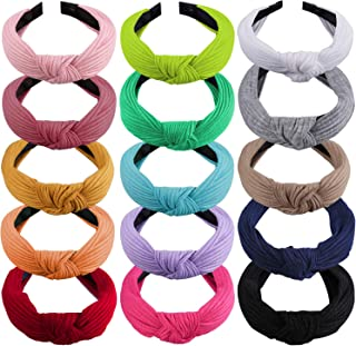 SIQUK 15 Pieces Top Knot Headband Turban Headbands with Cross Knot Wide Cloth Headband for Womem and Girls