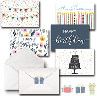 Happy Birthday Greeting Cards Bulk Premium Assortment Pack of 20 W/Decorative Envelopes and Seal Stickers, Blank on the inside Boxed Set of Bday Cards