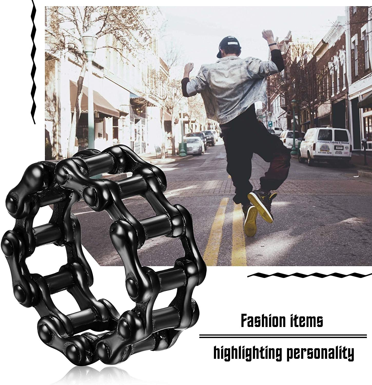 Size N 1//2-Z+5 JewelryWe Mens Simple Bike Chain Ring Punk Rock Motor Biker Stainless Steel Band