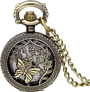 JewelryWe Montre de Poche à Gousset Pendantif Mode Rétro Creux Papillon Fleurs Ronde Bronze Pendentif Collier Chaîne