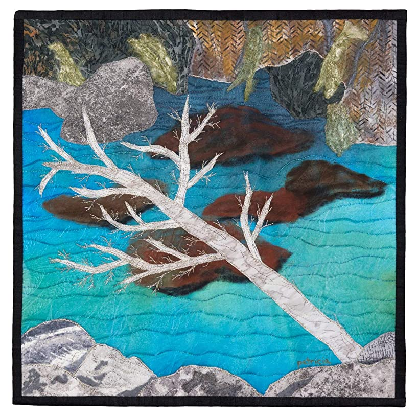CLEAR MOUNTAIN POOL - original mixed media landscape by Patricia Gould