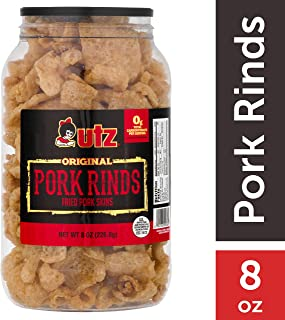 Utz Pork Rinds, Original Flavor - Keto Friendly Snack with Zero Carbs per Serving, Light and Airy Chicharrones with the Perfect Amount of Salt, 8 Ounce Barrel