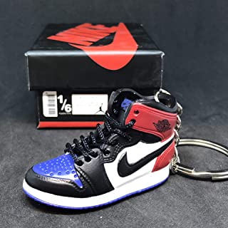 Air Jordan I 1 Retro Top 3 Blue Red Black OG Sneakers Shoes 3D Keychain Figure + Shoe Box