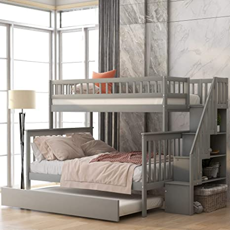 Amazon Com Softsea Twin Over Full Bunk Bed With Trundle Wood Grey Stairway Bunk Bed With Storage Stairs Kitchen Dining