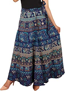 Rj14 Cotton Women's Cotton Wrap Around Western Wear Skirt (assorted design) free size (blue)