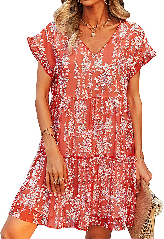 EZ Tuxedo Women Tunic Floral Print Dress V Neck Short Sleeve Ruffle Casual Loose Flowy Swing Shift Dress