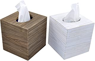 Spiretro Set of 2 Square Tissue Box Cover, Rustic Reclaimed Wood Facial Paper Holder for Bathroom, Vanity Countertops, Dre...