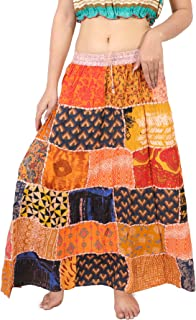 Wevez Pack of 3 Hippie Tiered Maxi Long Vintage Patch Skirts