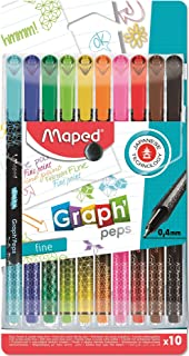 Maped 749050 Graph'Peps Felt-Tip Pens Fine Point 0.4 mm Durable Tip Writing Comfort Pack of 10 Colours