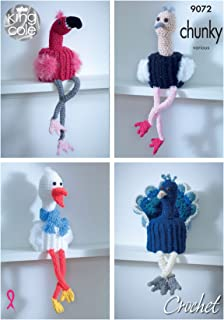 King Cole Crochet Pattern for Bird Toilet Roll Holders - Flamingo Ostrich Stork or Peacock (9072)