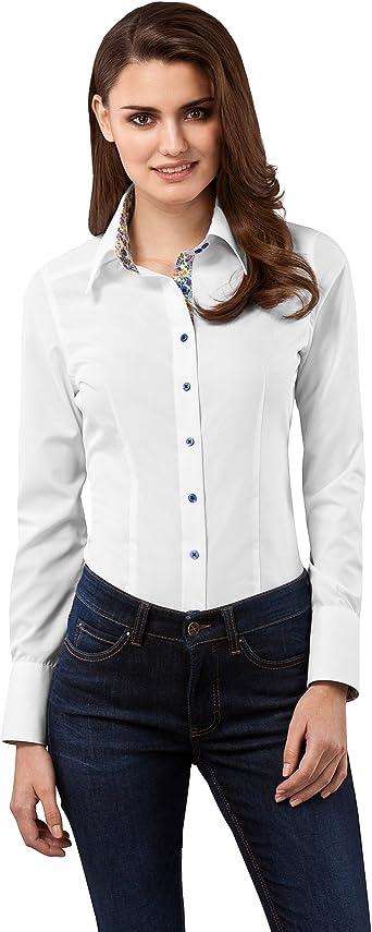 Vincenzo Boretti Camisa de Mujer Muy Elegante, Ligeramente más angosta (Modern-fit), 100% algodón, Manga-Larga, Cuello Kent, con entredós en ...
