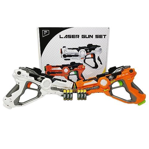 Lot de fusil laser pour les enfants et les adultes TG666 - Jeu infrarouge laser pour les garçons et les filles (2 fusils inclus) - Sons blaster cool avec sélection optionnelle d'une équipe de 4 multijoueur par ThinkGizmos (Protégé par Marque de Fabrique).