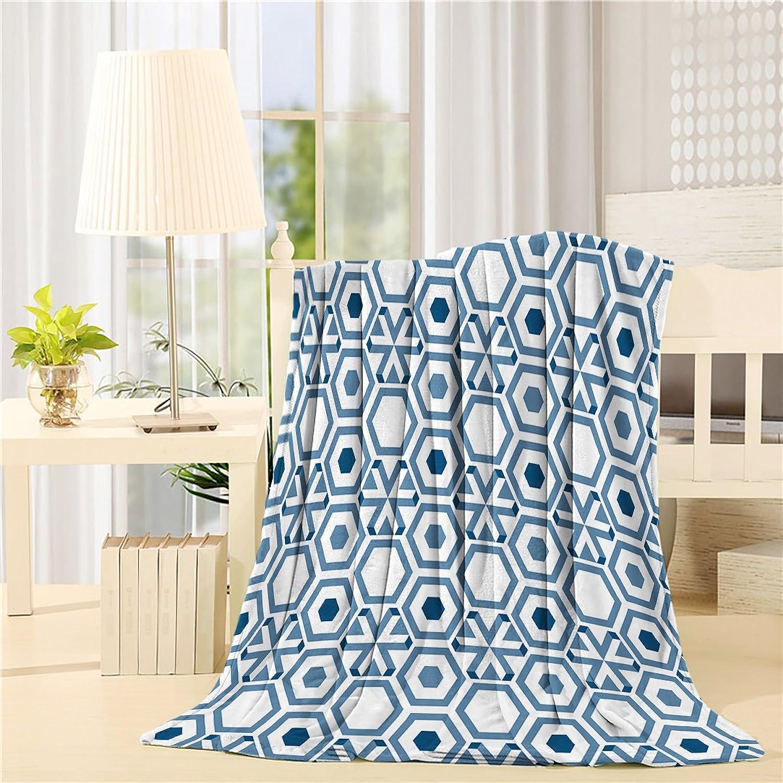Fleece Blanket Art Illustration Mgoldccan Hexagon Pattern Simple Design Navy bluee Blankets Living Room Bedroom Wearing Teather
