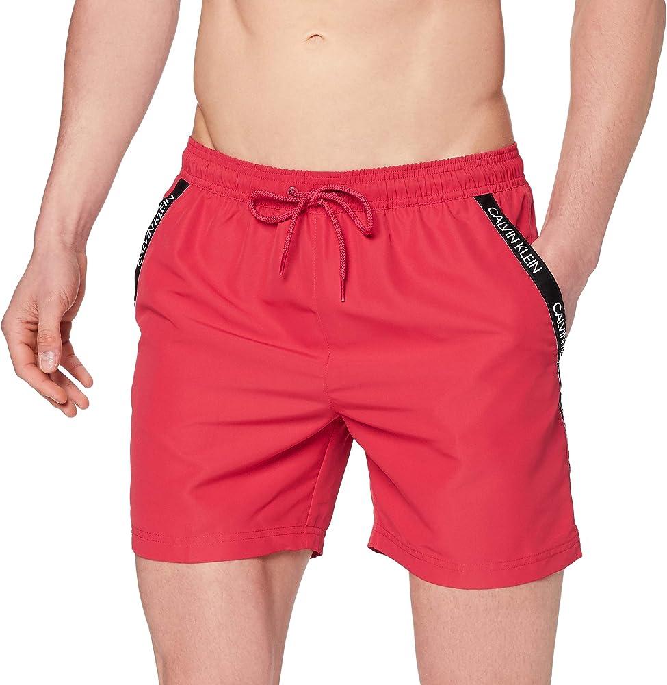 Calvin klein medium drawstring, costume da bagno a pantaloncino per uomo, 100% poliestere KM0KM00285