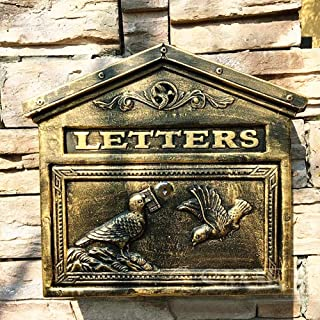 zenggp Letterbox Mail Box Cast Iron Heavy Duty Mailbox Vintage Wall Mounted Gifts Antique Wall Country House Style