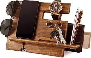 Wood Phone Docking Station Walnut Key Hooks Holder Wallet Stand Watch Organizer Men Gift Husband Anniversary Dad Birthday Nightstand Purse Tablet Boyfriend Father Graduation Male