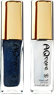 AQMORE Premium Water Based Nail Polish - Pure Minerals, Ultra Long Lasting, Easy Peel Off, Fast Drying, Gel Manicures Like, Non Toxic, Lab Tested (Starry Night & Top Coat Set)