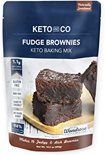 Keto and Co Fudge Brownie Mix | All Natural, Naturally Sweetened, Gluten Free, Diabetic Friendly | Low Carb, Just 1 Net Carb Per Serving | No Added Sugar | Makes 16 Brownies