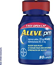 Aleve PM Caplets, Fast Acting Sleep Aid and Pain Relief for Headaches, Muscle Aches, Non-Habit Forming 220 mg Naproxen Sod...