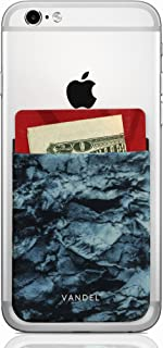 Vandel Pocket: Stick On Fabric Cell Phone Wallet | Credit Card Holder for Back of Smartphone Case | Stretchy Fabric Adhesive Sleeve Compatible with All Devices | Blue Stone