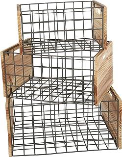 small foot company Cajas de Madera con Rejillas, Juego de 3 en Estilo Industrial, para decoración y Almacenamiento, Varios tamaños, Uso Universal, Talla única