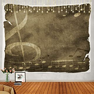 Shrahala Music Tapestry, Vintage Old Music Notes Paper Texture Wall Hanging Large Tapestry Psychedelic Tapestry Decorations Bedroom Living Room Dorm(51.2 x 59.1 Inches, Beige)