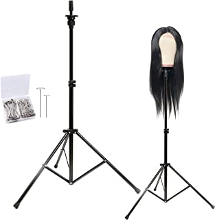 GOODOFFERPLACE Wig Stand Metal Mannequin Head Tripod Stand Adjustable with Carry Bag 30pc TPIN for Cosmetology Training Head block head hairextension