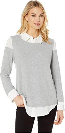 Long Sleeve Brush Jersey Mix Media Collared Shirt