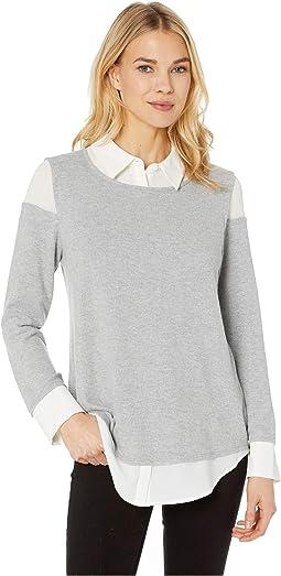 Long Sleeve Brush Jersey Mix Media Collared Shirt