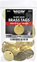 "1.25"" Solid Brass Stamping Tags (100 Pack) Industrial Grade 0.040"" Blank Chits for Pipe Valves, Keys, Tool and Equipment Labeling 