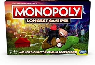 Hasbro Monopoly Longest Game Ever, Classic Monopoly Gameplay With Extended Play; Monopoly Board Game for Ages 8 and Up,E89...
