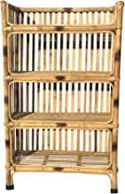HM Services Natural Finish Cane Bamboo Rack of 4 Shelves for Books and Shoes, 64 x 30 x 102 cm